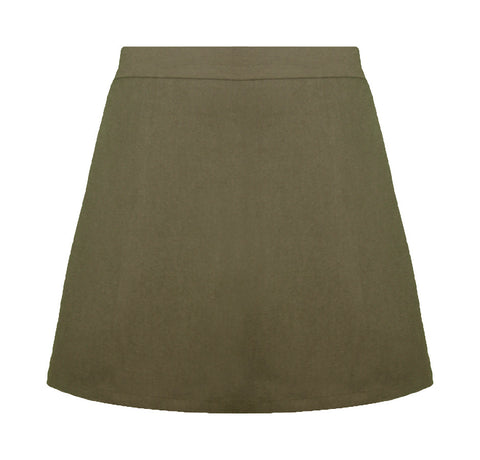 KHAKI ELASTIC BACK STANDARD SKORT, SIZE 27 AND UP