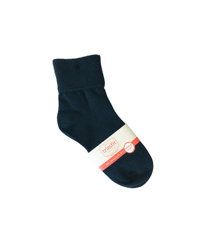 NAVY FOLD OVER ANKLE SOCKS, ADULT