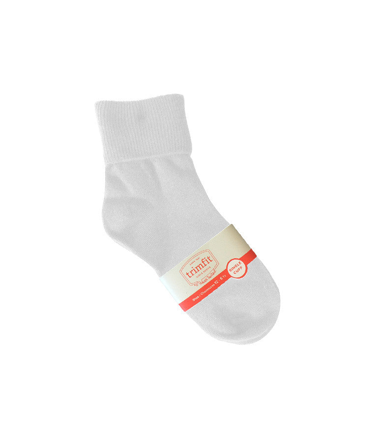 WHITE FOLD OVER ANKLE SOCKS, ADULT