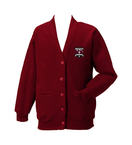ST. THOMAS AQUINAS RED CARDIGAN, SIZE 44 AND UP