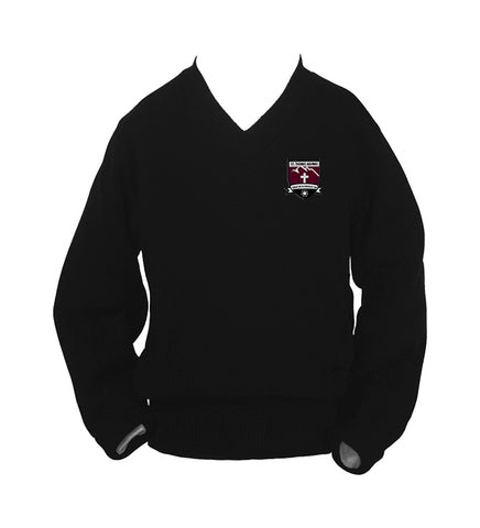 ST. THOMAS AQUINAS BLACK PULLOVER, SIZE 44 AND UP