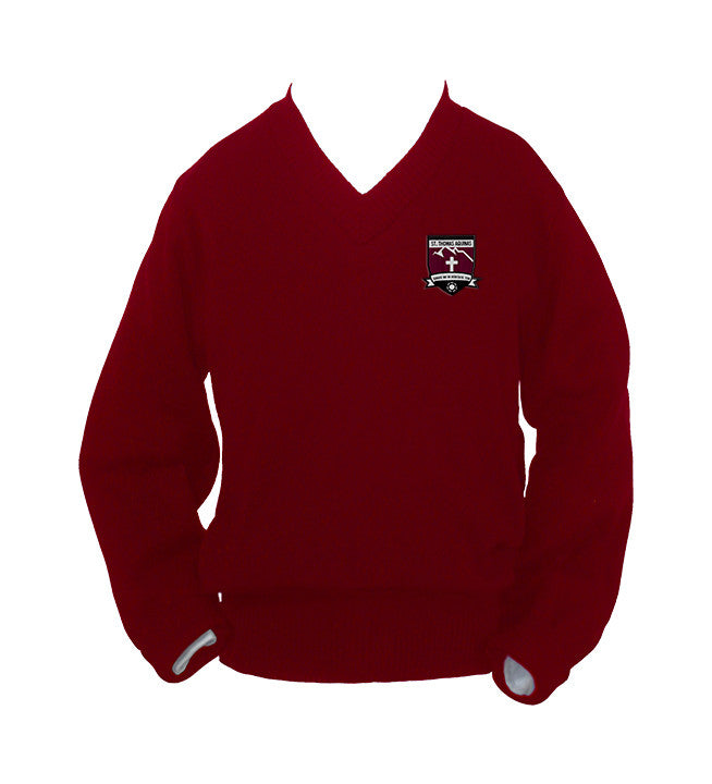 ST. THOMAS AQUINAS RED PULLOVER, UP TO SIZE 42