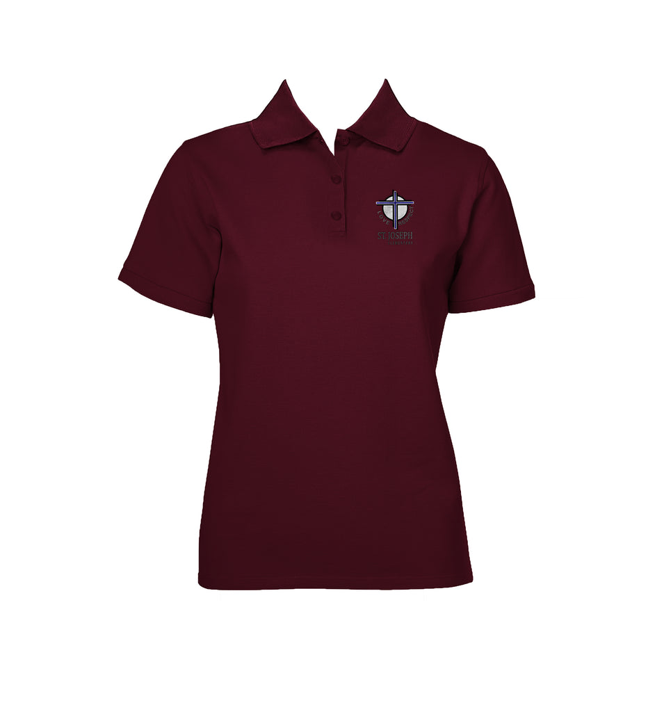 ST. JOSEPH MERLOT GOLF SHIRT, GIRLS, SHORT SLEEVE, ADULT