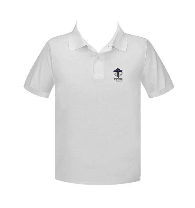 ST. JOSEPH WHITE GOLF SHIRT, UNISEX, SHORT SLEEVE, ADULT