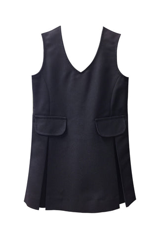NAVY TUNIC, V-NECK WITH TWO POCKETS