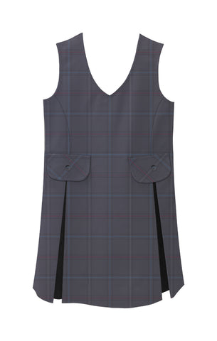 TARTAN TUNIC, V-NECK WITH TWO POCKETS