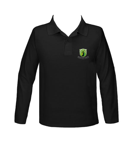 WILLOWSTONE ACADEMY BLACK GOLF SHIRT, UNISEX, LONG SLEEVE, YOUTH
