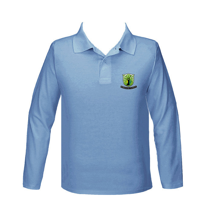 WILLOWSTONE ACADEMY LIGHT BLUE GOLF SHIRT, UNISEX, LONG SLEEVE, YOUTH