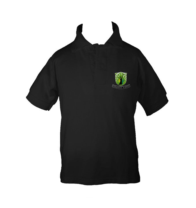 WILLOWSTONE ACADEMY BLACK GOLF SHIRT, UNISEX, SHORT SLEEVE, CHILD