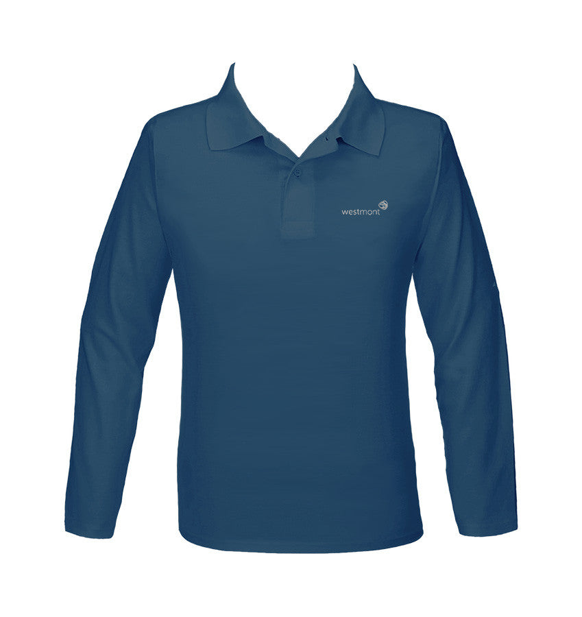 WESTMONT STEEL BLUE GOLF SHIRT, UNISEX, LONG SLEEVE, YOUTH