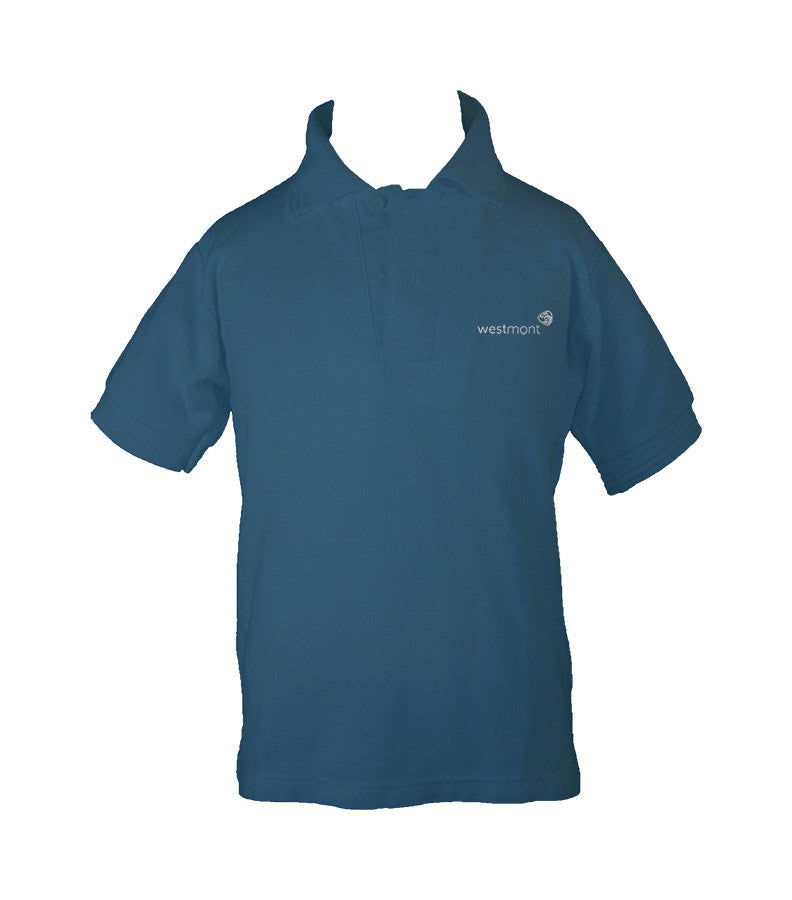 WESTMONT STEEL BLUE GOLF SHIRT, UNISEX, SHORT SLEEVE, CHILD