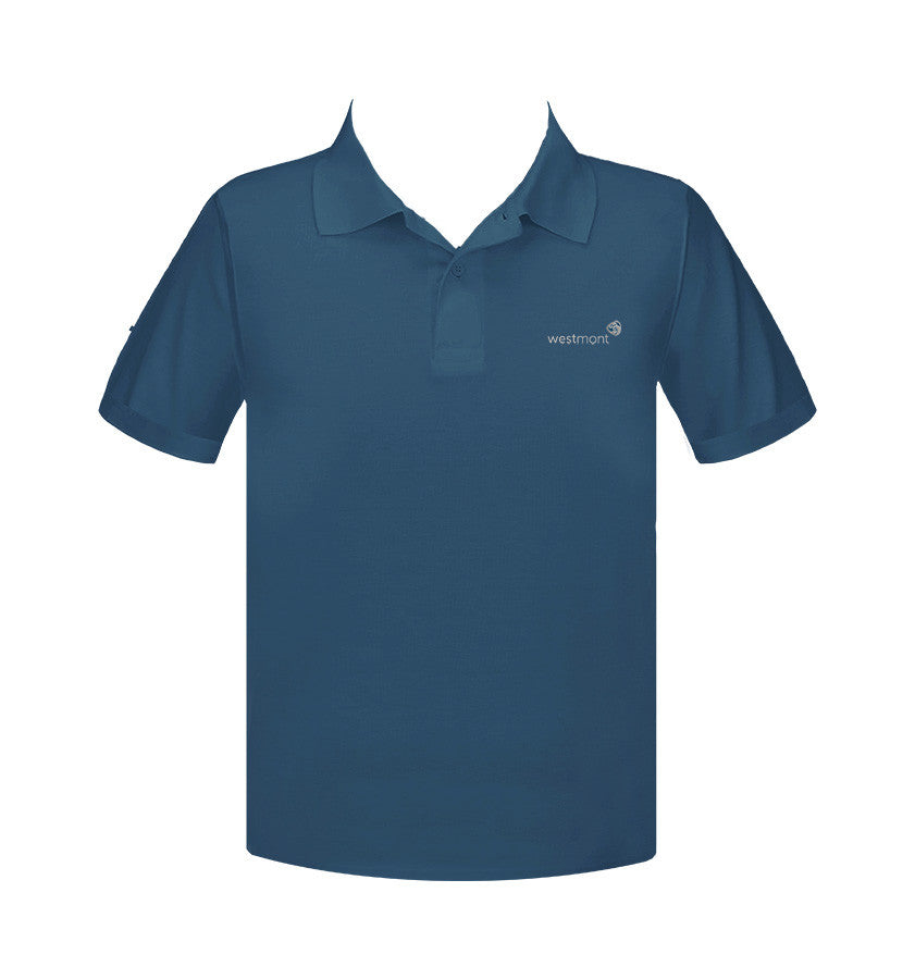 WESTMONT STEEL BLUE GOLF SHIRT, UNISEX, SHORT SLEEVE, ADULT