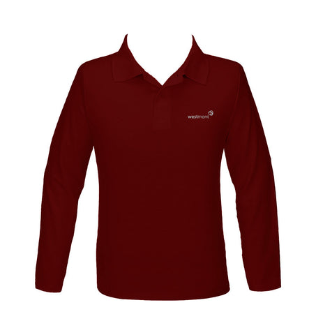 WESTMONT RED GOLF SHIRT, UNISEX, LONG SLEEVE, YOUTH