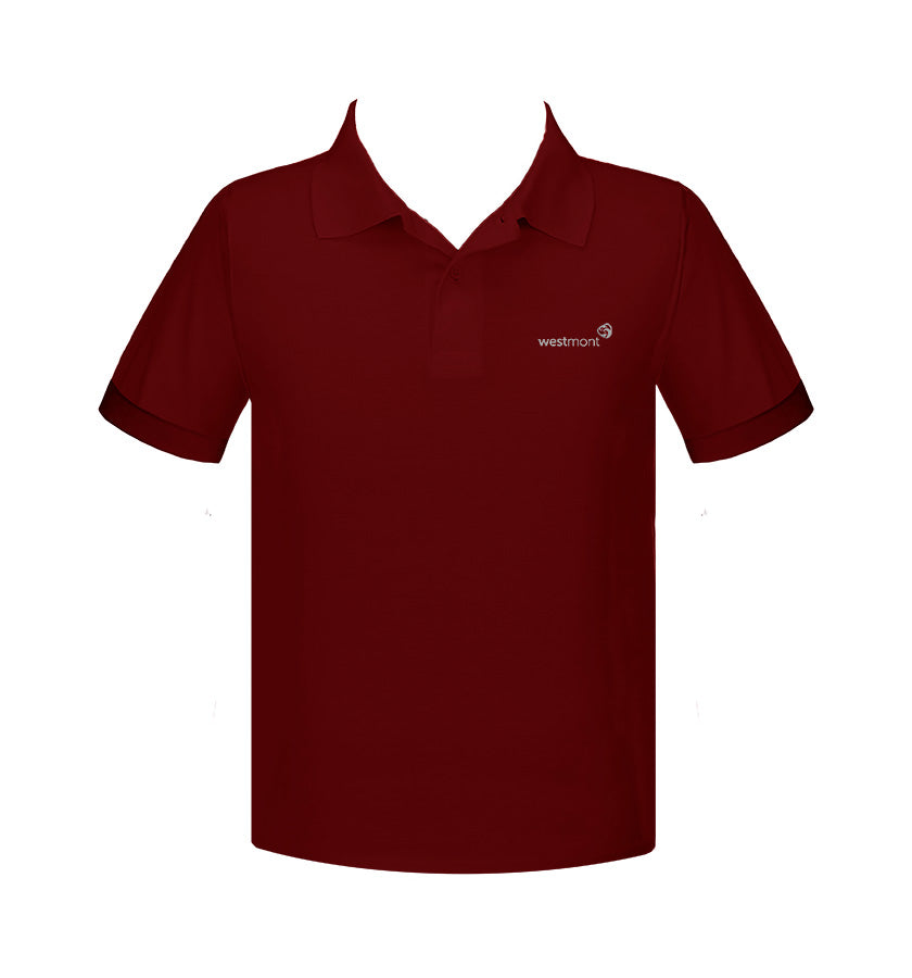 WESTMONT RUBY RED GOLF SHIRT, UNISEX, SHORT SLEEVE, ADULT