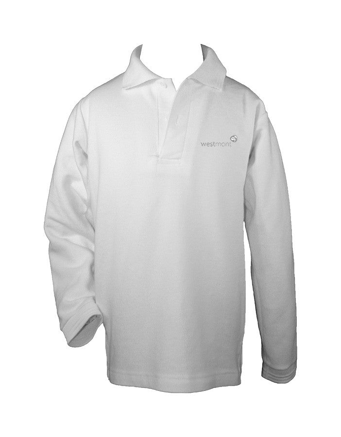WESTMONT WHITE GOLF SHIRT, UNISEX, LONG SLEEVE, CHILD