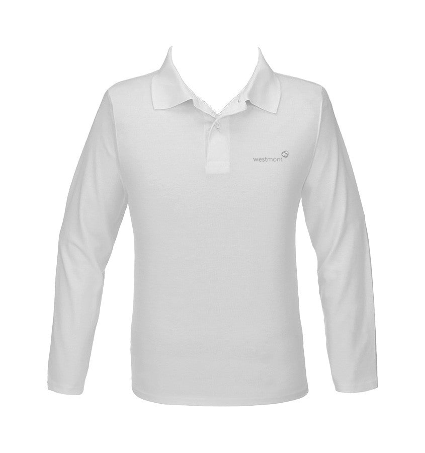 WESTMONT WHITE GOLF SHIRT, UNISEX, LONG SLEEVE, YOUTH
