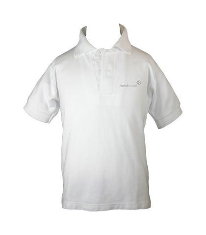 WESTMONT WHITE GOLF SHIRT, UNISEX, SHORT SLEEVE, CHILD