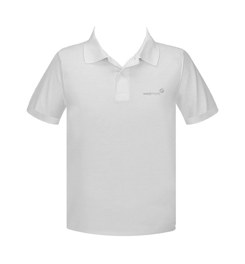 WESTMONT WHITE GOLF SHIRT, UNISEX, SHORT SLEEVE, ADULT