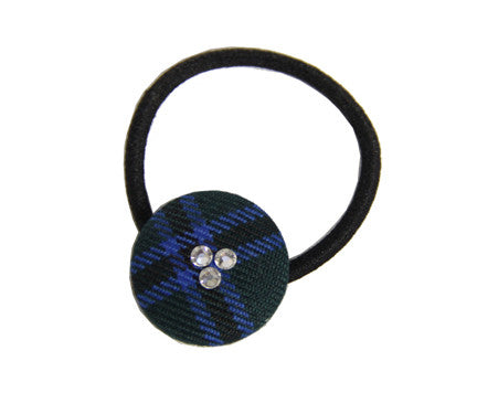 TARTAN HAIR BUTTON WITH CRYSTALS <br><strong> FINAL SALE</strong>