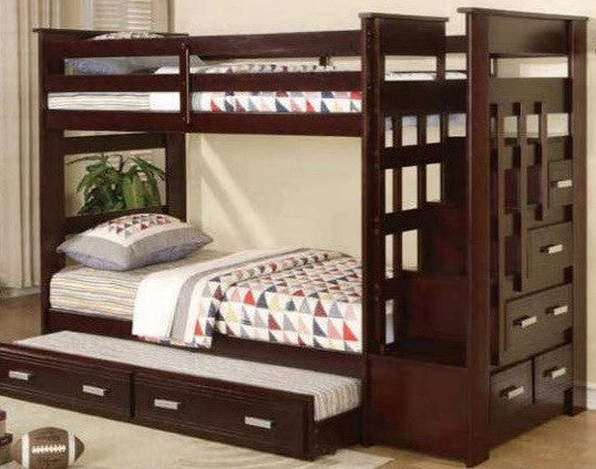 BROADWAY TWIN/ TWIN STAIRCASE BUNK BED WITH PULL OUT BED IN ESPRESSO OR WHITE