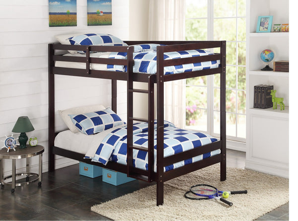 DALLAS TWIN/ TWIN BUNK BED IN ESPRESSO OR WHITE