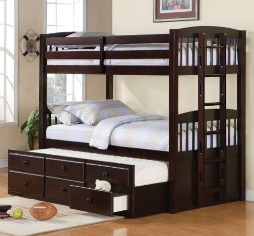 KINGSTON TWIN/ TWIN BUNK BED with CAPTAIN TRUNDLE BED WITH DRAWERS IN ESPRESSO OR WHITE