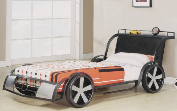 "RV8 GUNMETAL 39"" KIDS BED FRAME - RACE CAR"
