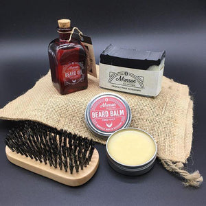 Beard Grooming Package - beard oil, beard balm, brush, charcoal shampoo bar