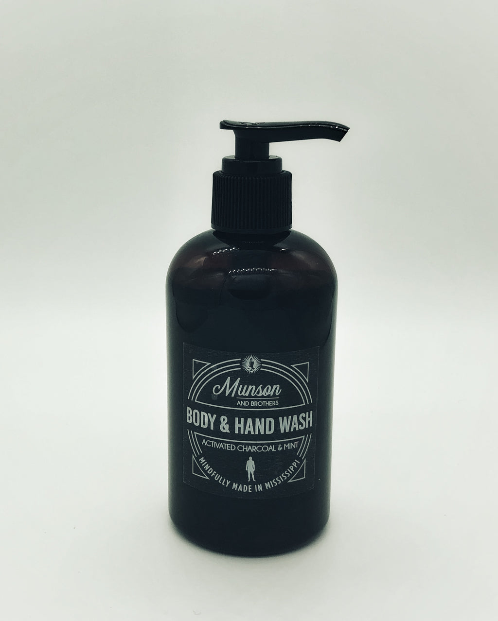 Munson and Brothers Hand and Body Wash with Mint and Activated Charcoal
