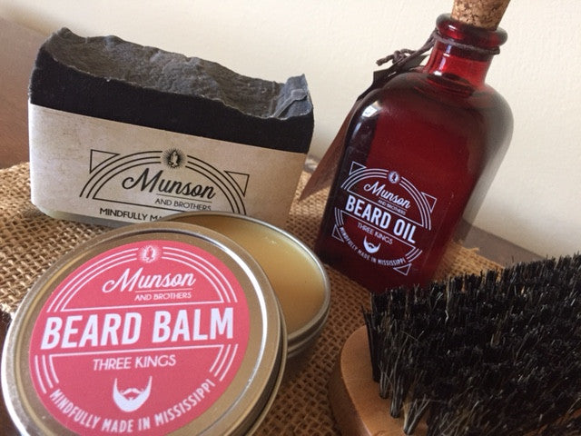 Beard Grooming Package - beard balm, beard soap, shampoo bar, brush