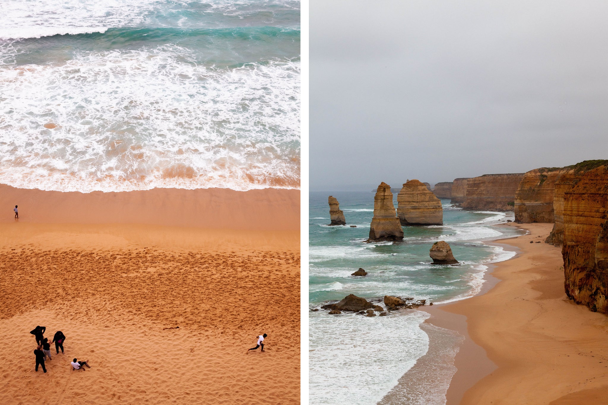 The rugged waters have cut into the limestone along the Great Ocean Road, creating its most well known landmark, the 12 Apostles.