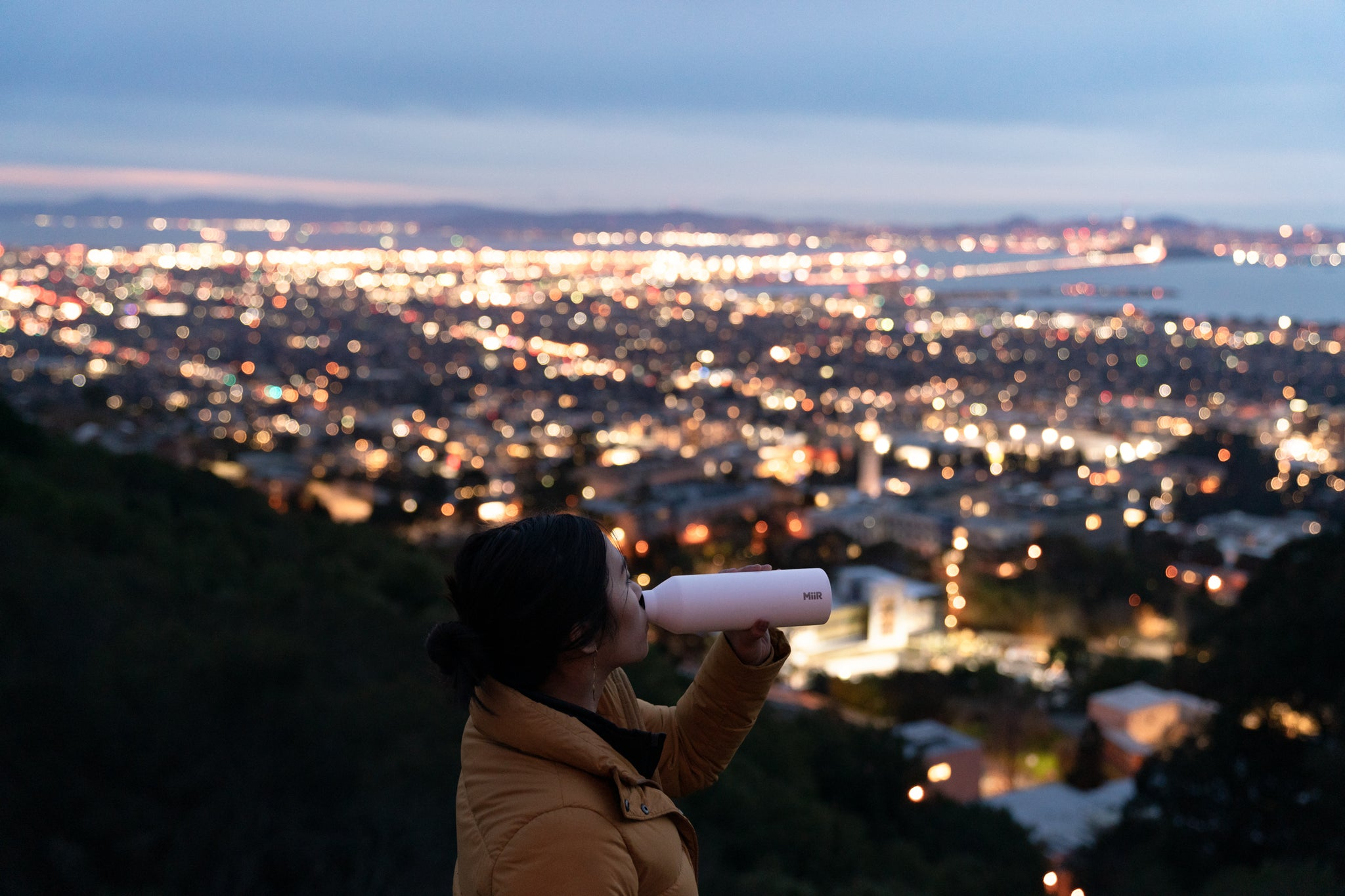 Michael Estrada and friend overlooking the SF Bay Area at dusk.