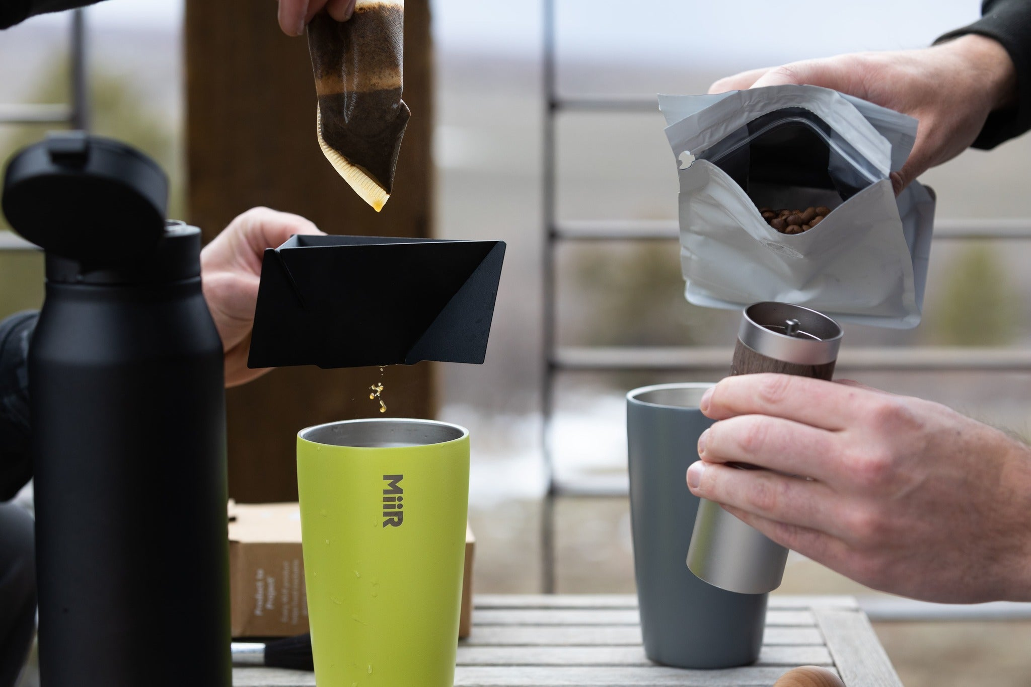 Pour Over Coffee Outside