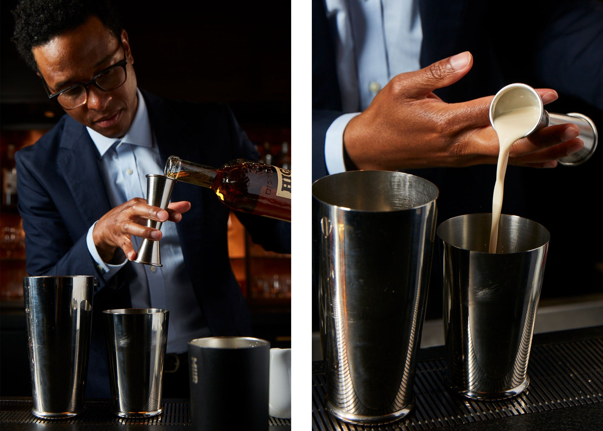Jermaine Whitehead making cocktails