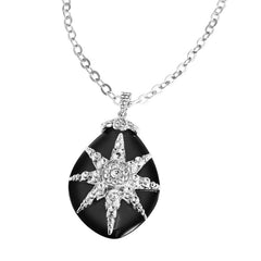 """Deco Starburst"" Black Teardrop Pendant Necklace"
