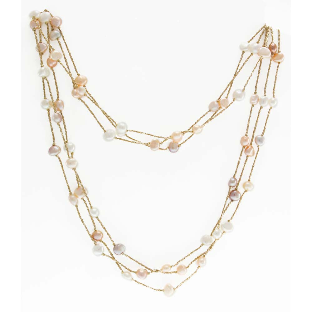 18K YG Plated Sterling Silver, Pink And White Fresh Water Pearl, Three Row, 40' Lurex Necklace