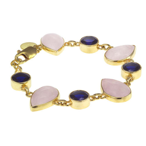 18K YG Plated Black Agate Linked Bracelet
