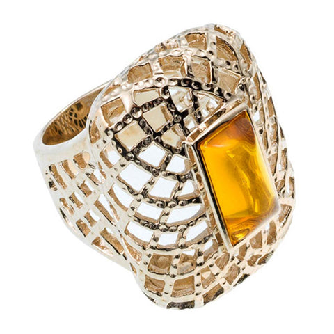 18K YG Plated,  Topaz Glass Ring