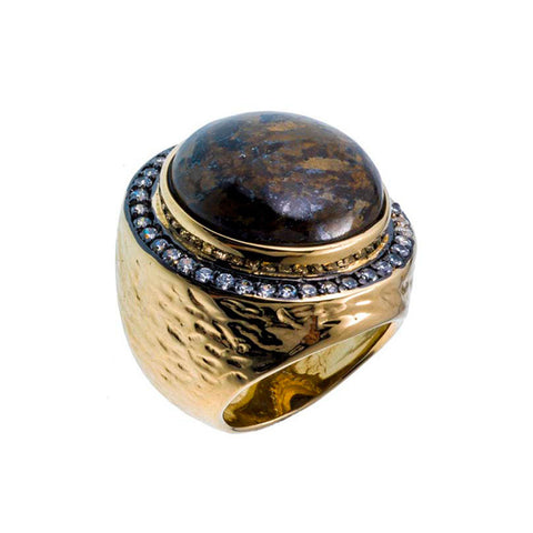 18K YG Plated Bronzite And CZ Gumball Ring
