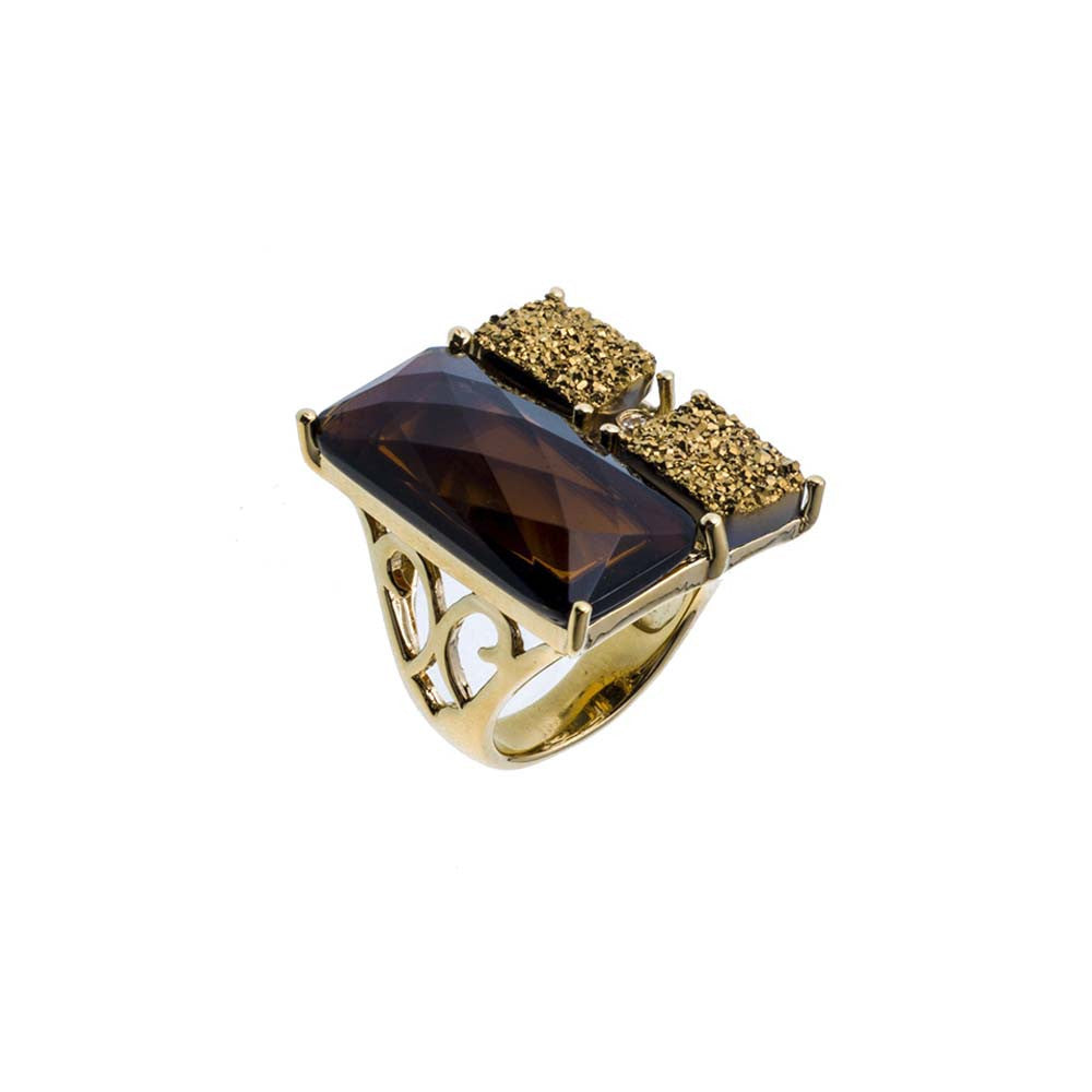 18K YG Plated Smoke Topaz Crystal and Gold Drusy Triplet Ring