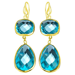 18K YG Plated Faceted Aqua Crystal Angelina Earrings