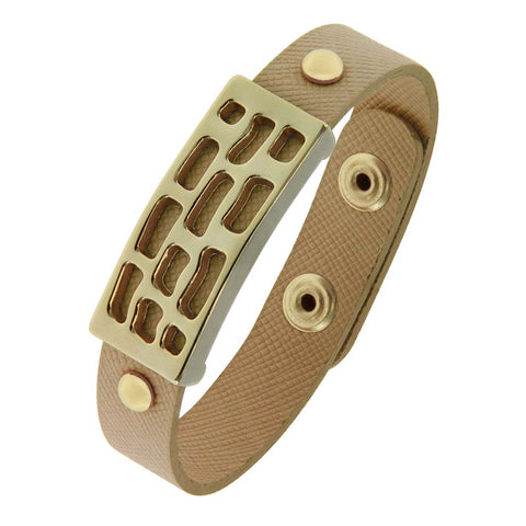 18K YG Plated, Hunter Green Leather Button Snap Rider'S Cuff Bracelet