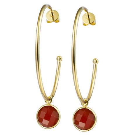 14K YG Plated  Round Faceted Carnelian Earrings