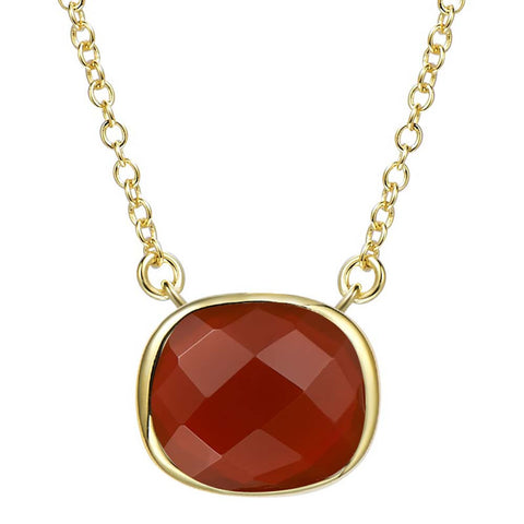 14K YG Plated  Faceted Carnelian Pendant Necklace