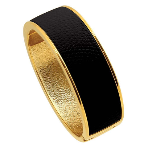 "18K YG Plated  ""Cali"" Jet Black Faux Lizard Embossed Leather Hinged Bangle"