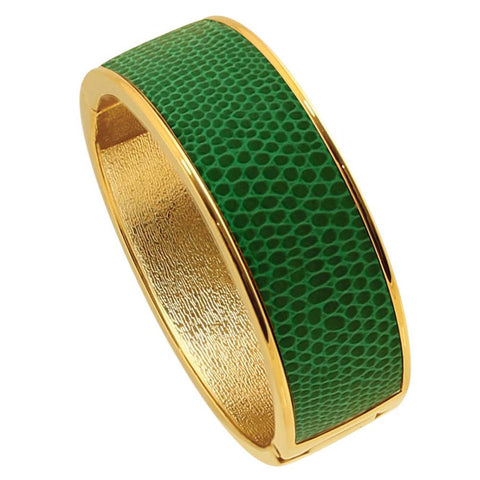 "18K YG Plated  ""Cali"" Emerald Faux Lizard Embossed Leather Hinged Bangle"