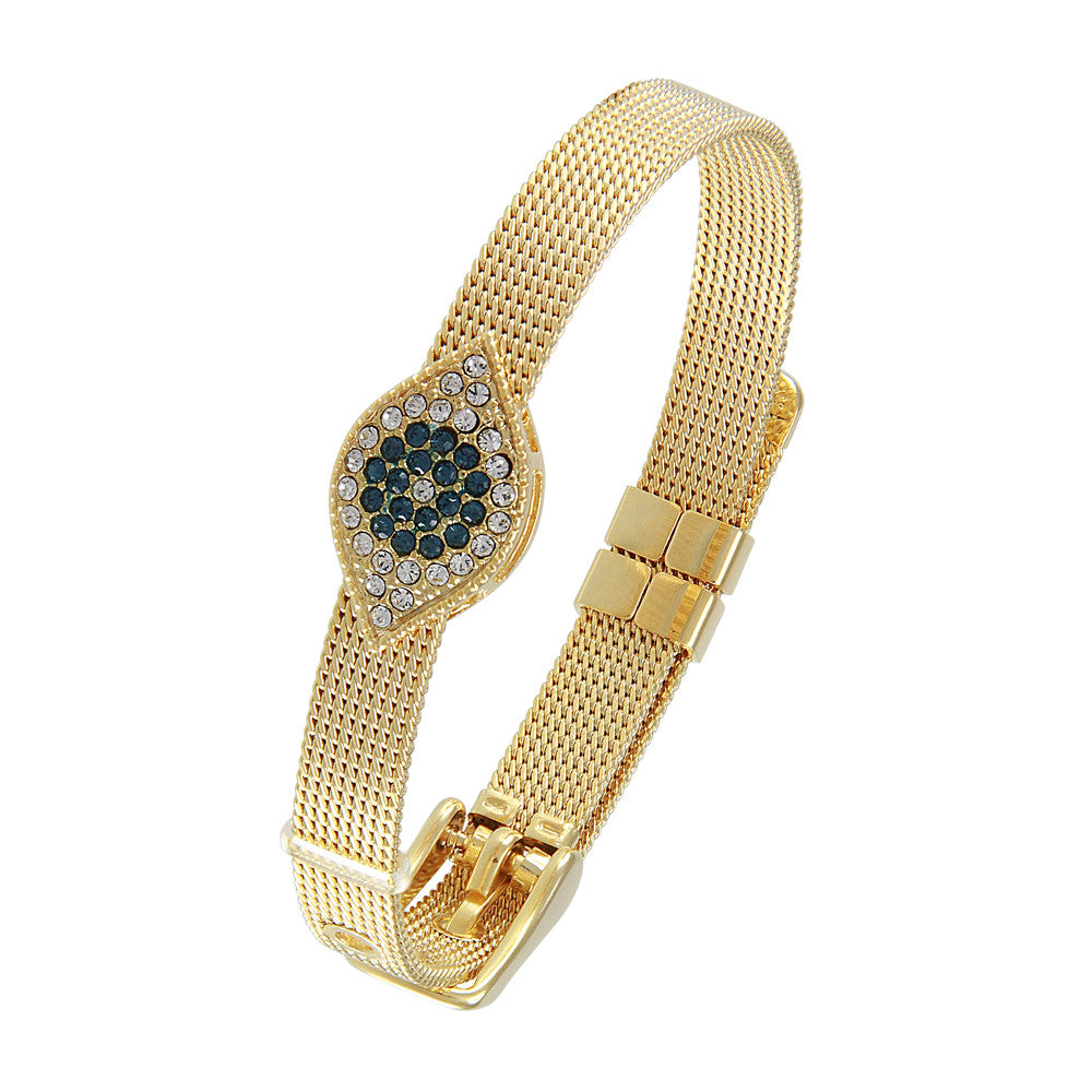 18K YG Plated  CZ Accents Evil Eye  Bracelet