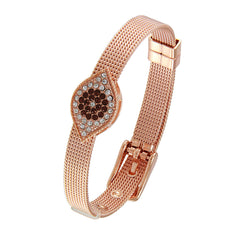 18K Rose Gold Plated CZ Accents Evil Eye  Bracelet
