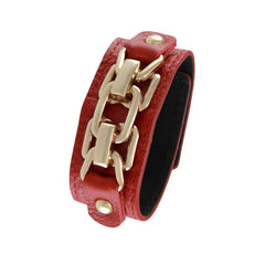 18K YG Plated  Red Leather Chain Link Design Snap Bracelet