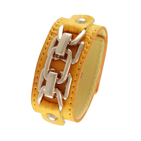18K YG Plated  Yellow Leather Chain Link Design Snap Bracelet